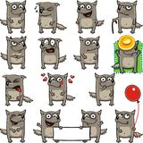 Funny wolves (2). 15 smiley wolves individually grouped for easy copy-n-paste. Vector Royalty Free Stock Photos
