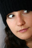 Funny woman. Amusing funny woman. Close-up portrait looking very surprised Royalty Free Stock Photography