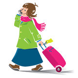 Funny woman air passenger with suitcase and phone Royalty Free Stock Images