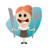 Funny woman with big fork and knife Stock Photo