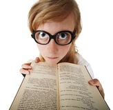 Funny woman in big glasses with book Stock Image