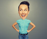 Funny woman with big head stock image