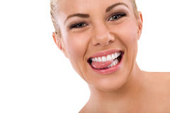 Funny woman biting her tongue Stock Photo
