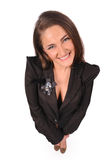 Funny woman in black jacket Royalty Free Stock Photography