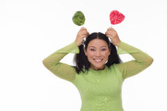 Funny woman with candy Stock Photo