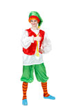 Funny woman in carnival costume of Pinocchio show thumb up Royalty Free Stock Image