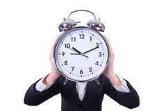 Funny woman with clock Stock Photos