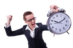 Funny woman with clock. On white stock photo