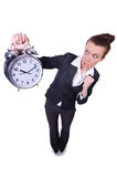 Funny woman with clock Royalty Free Stock Image