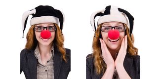 The funny woman clown isolated on the white. Funny woman clown isolated on the white Royalty Free Stock Photos