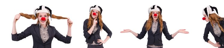 The funny woman clown isolated on the white. Funny woman clown isolated on the white Stock Image