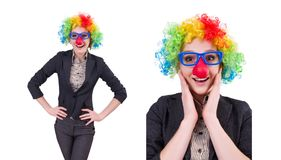 The funny woman clown isolated on the white. Funny woman clown isolated on the white Stock Photo