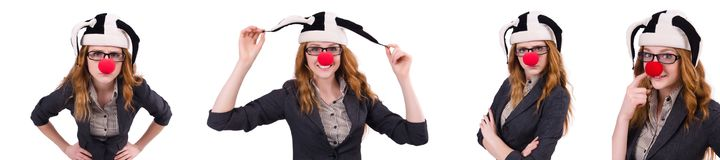 The funny woman clown isolated on the white. Funny woman clown isolated on the white Royalty Free Stock Image