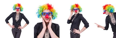The funny woman clown isolated on the white. Funny woman clown isolated on the white Royalty Free Stock Photography