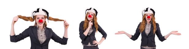The funny woman clown isolated on the white. Funny woman clown isolated on the white Royalty Free Stock Images