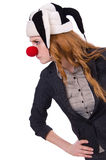 Funny woman clown isolated Royalty Free Stock Photos