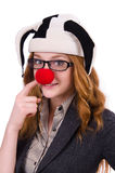 Funny woman clown isolated. On the white Stock Photography