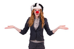 Funny woman clown isolated Stock Images
