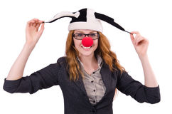Funny woman clown isolated Royalty Free Stock Images