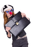 Funny woman clown isolated Stock Photo
