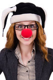 Funny woman clown. Isolated on the white Royalty Free Stock Photography