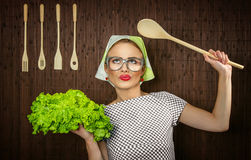 Funny woman cook Stock Photos