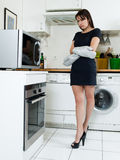 Funny woman cooking Stock Photo