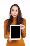 Funny woman and digital tablet Royalty Free Stock Photos