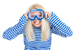 Funny woman in diving mask in sailor dress. Funny blond woman in diving mask in sailor striped dress. Isolated white background Royalty Free Stock Images