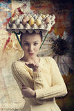 Funny woman with easter eggs Royalty Free Stock Photography