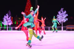 Free Funny Woman Elf Skating On Ice At Chritsmas Show In International Drive Area. Stock Photo - 132245450
