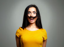 Funny Woman Face Expression. Silly Girl Royalty Free Stock Image