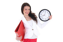 Funny woman with folder and clock Royalty Free Stock Images