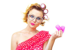 Funny woman with hairstyle Stock Photos