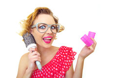 Funny woman with hairstyle Stock Image