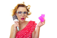 Funny woman with hairstyle Stock Images