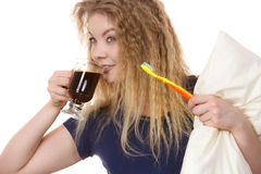 Funny woman being late drinking coffee Stock Photography