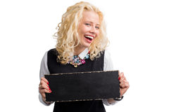 Funny woman holding blank board Royalty Free Stock Photography