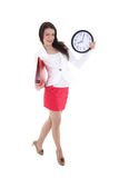 Funny woman holding folder and clock Stock Photography