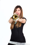 Funny woman holding trumpet isolated Royalty Free Stock Image