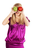 Funny woman holding two apples Royalty Free Stock Photo