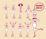 Funny woman Icons collection Royalty Free Stock Photography