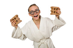 The funny woman in kimono with brick on white Stock Images