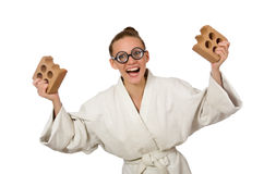 The funny woman in kimono with brick on white. Funny woman in kimono with brick on white Royalty Free Stock Photo