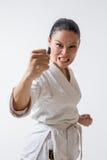 Funny woman in kimono on white Stock Photos
