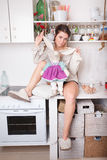 Funny woman in the kitchen Royalty Free Stock Photography