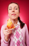 Funny woman licking her lips Royalty Free Stock Images