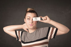 Funny woman looking with hand drawn paper eyes Royalty Free Stock Images