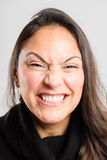 Funny woman portrait real people high definition grey background stock image