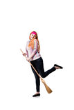 The funny woman with mop isolated on the white background Royalty Free Stock Images